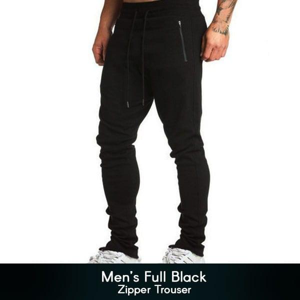 Mens Full Black Zipper Trouser 1 600x600 1