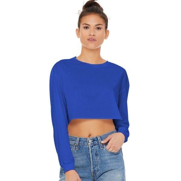 popular sports single jersey crew neck crop top for women dark blue