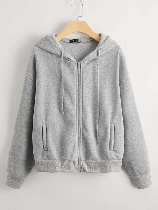 H-grey Zipper Hoodie